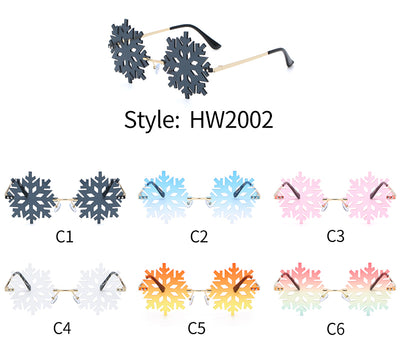 HW2002 - Rimless Snowflake Shape Christmas Novelty Party Sunglasses