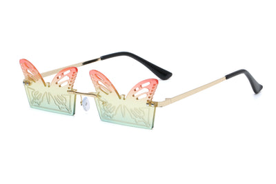 HW2003 - Metal Rimless Butterfly Shape Fashion Sunglasses