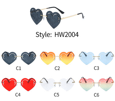 HW2004 - Rimless Metal Vintage Heart Shape Fashion Sunglasses