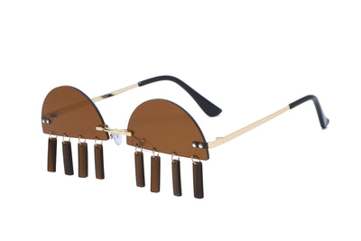 HW2005 - Rimless Vintage Christmas Novelty Tinted Party Sunglasses