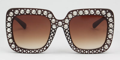 S5001 - Women Rhinestone Square Oversize Sunglasses - Iris Fashion Inc. | Wholesale Sunglasses and Glasses