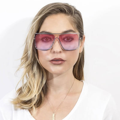 CA01 - Women's Trendy Oversize Flat Top Metal Frame Sunglasses - Iris Fashion Inc. | Wholesale Sunglasses and Glasses