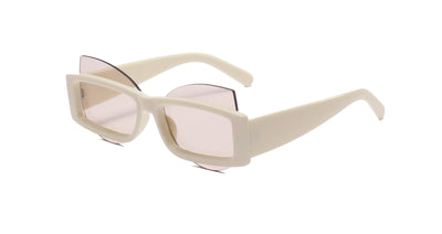 H1016 - Futuristic Fashion Rectangular Cat Eye Geometric Sunglasses
