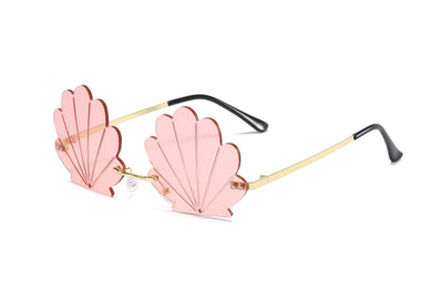 W2004 - Rimless Seashell Shape Tinted Colored Party Sunglasses