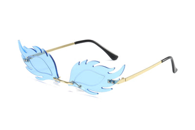 W2001 - Fire Flaming Rimless Tinted Colored Party Sunglasses