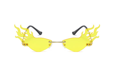 W2003 - Fire Flame Rimless Narrow Flaming Tinted Colored Sunglasses