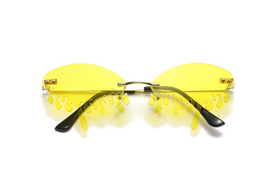 9044 - Oval Rimless Tear Dripping Women Men Party Sunglasses