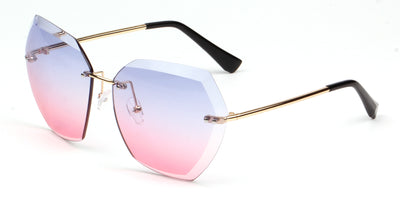 S2039 - Women Oversize Rimless Tinted Lens Sunglasses - Iris Fashion Inc. | Wholesale Sunglasses and Glasses