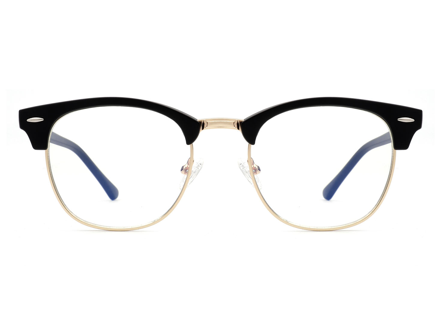 B2007 - Classic Half Frame Fashion Round Blue Light Glasses
