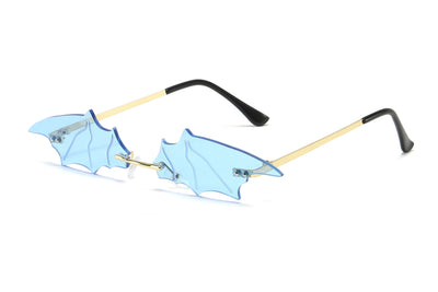 W2002 - Rimless Wave Bat Shape Flaming Tinted Sunglasses