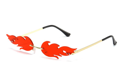 9041 - Rimless Fire Flame Wave Colored Tinted Sunglasses