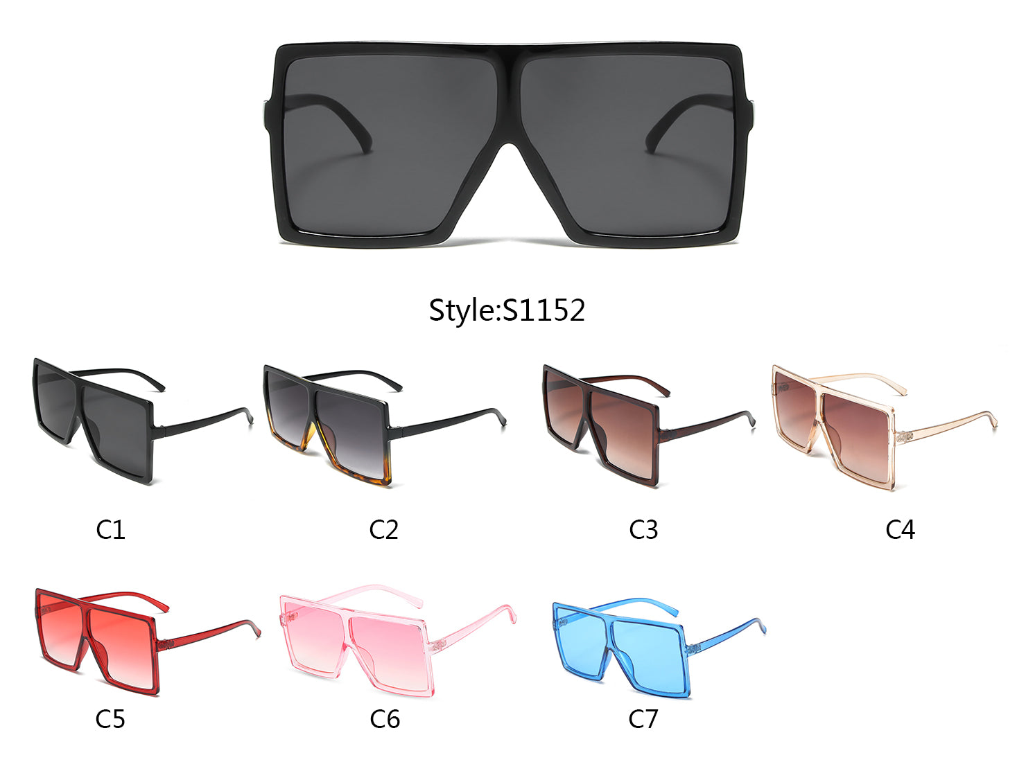 S1152- Flat Top Square Oversize Sunglasses