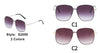 S2050 - Women Metal Square Oversize Sunglasses - Iris Fashion Inc. | Wholesale Sunglasses and Glasses