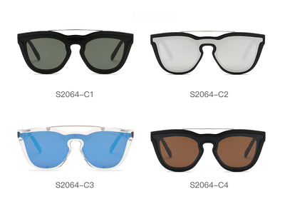 S2064 - Unisex Fashion Brow-Bar Round Sunglasses - Wholesale Sunglasses and glasses