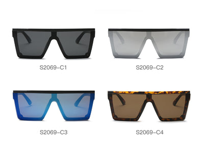 S2069 - Flat Top Square Oversize Fashion Sunglasses - Wholesale Sunglasses and glasses