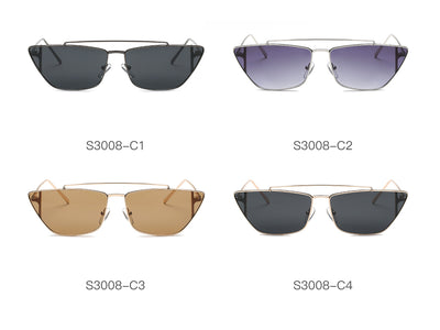 S3008 - Women Metal Retro Flat Lens Rectangular Sunglasses - Iris Fashion Inc. | Wholesale Sunglasses and Glasses