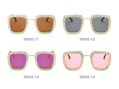 S5002 - Metal Square Rhinestone Women Fashion Sunglasses - Wholesale Sunglasses and glasses