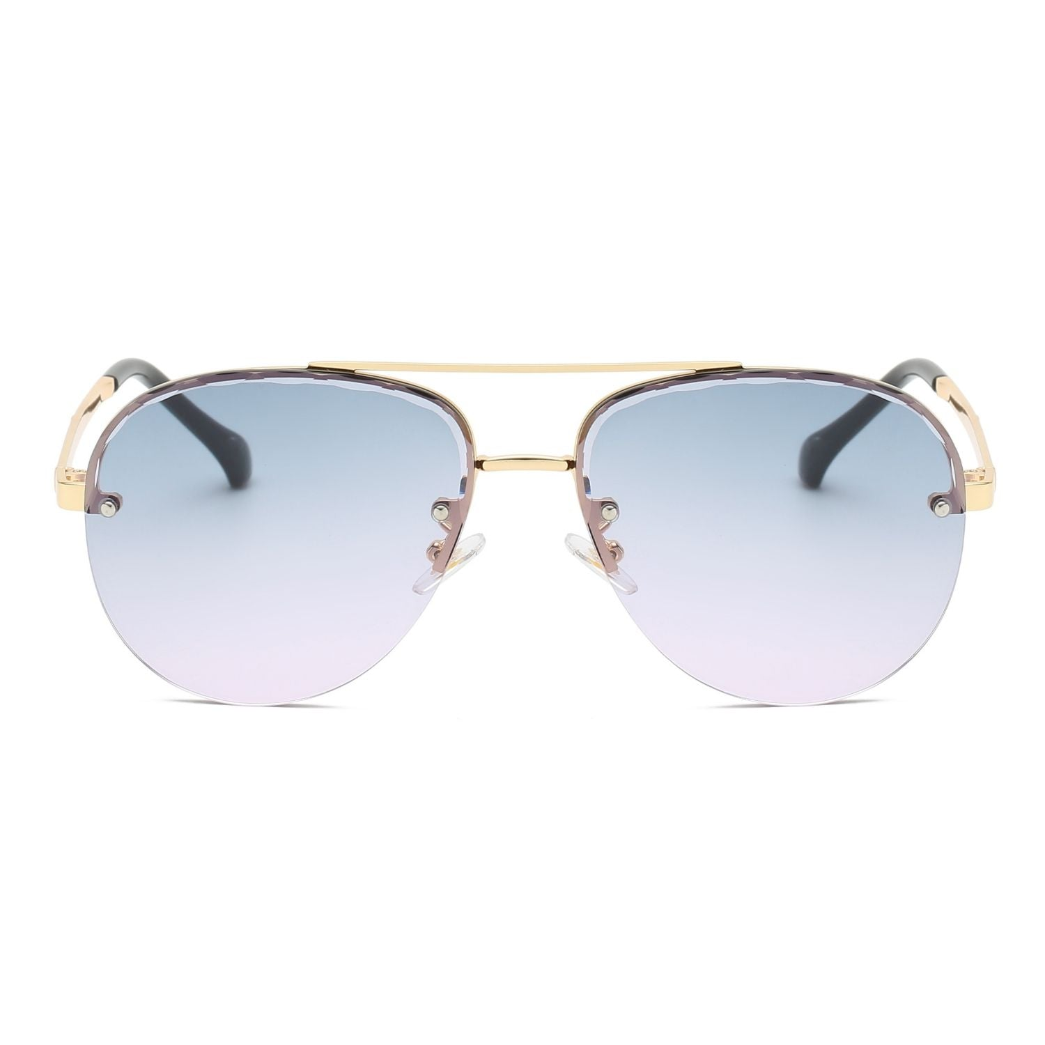 58163 - Classic Half Frame Anti-Reflective Aviator Fashion Sunglasses