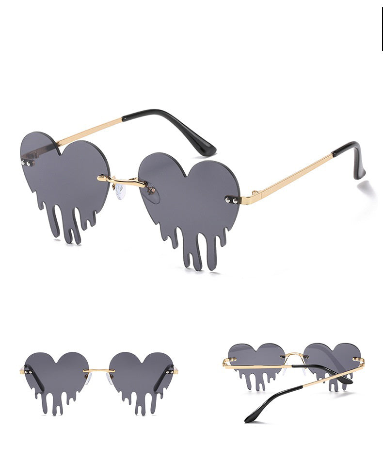 W2016 - Rimless Metal Heart Dripping Novelty Party Colored Lens Sunglasses