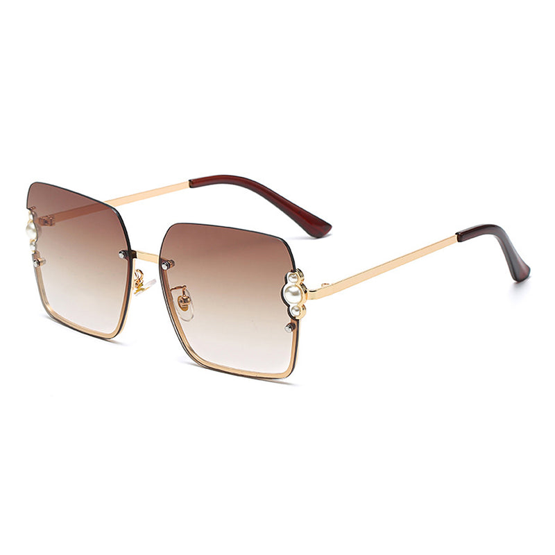J3002 - Women Square Oversize Half Frame Pearl Design Fashion Sunglasses