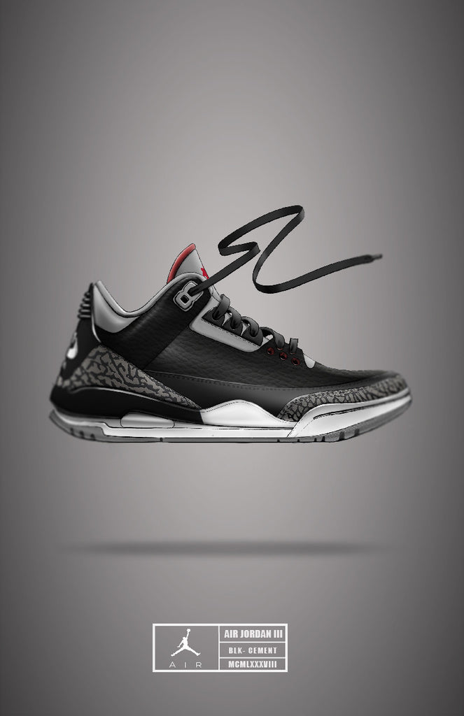 2a8492b3b440 Air Jordan 3  Black Cement – Hella Illustrations