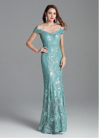 Lace Spaghetti Straps Sequins Mermaid Evening Dress