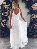 Court Train Lace Beach Straps Backless Wedding Dress