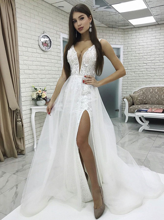 cheap for discount quality products catch Detachable Train White Lace Sheath V-Neck Low Cut Wedding Dress with Split