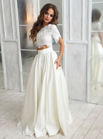Two Piece Lace Short Sleeves Satin Wedding Dress