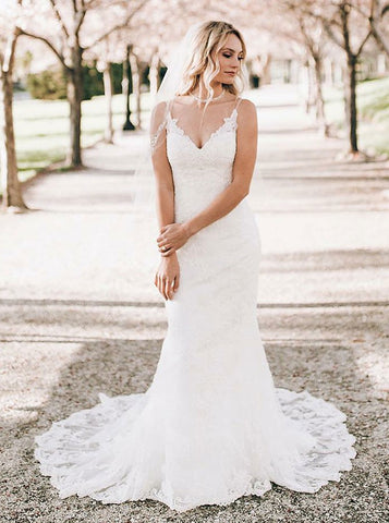 Mermaid V-Neck White Sleeveless White Lace Wedding Dress