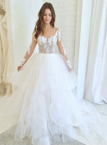 Asymmetric Train Tulle Illusion Round Neck Wedding Dress with Appliques