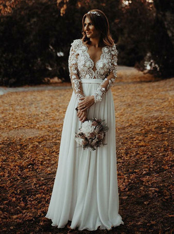 A-Line V-Neck Long Sleeve Appliques Flowers Chiffon Wedding Dress