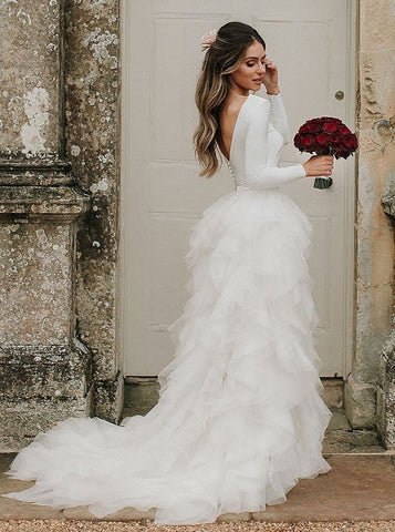A-Line Long Sleeves Asymmetric Train Tulle Wedding Dress