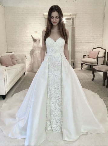 Appliques Sheath Sweetheart Detachable Train Lace Wedding Dress