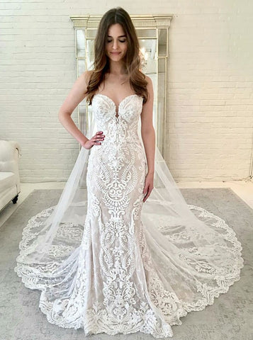 Lace  Mermaid Sweetheart Sleeveless Wedding Dress