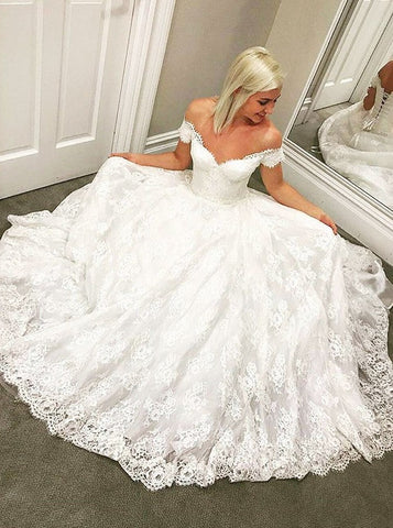 A-Line Off-the-Shoulder Long Lace-up Lace Wedding Dress