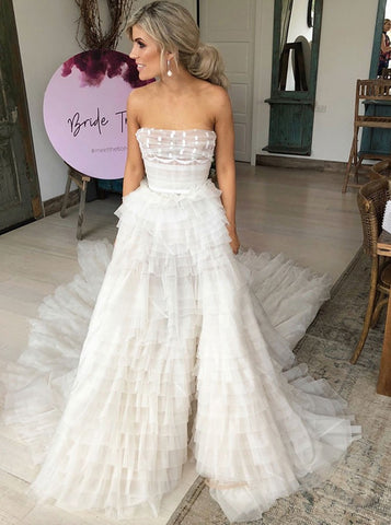 Tiered Tulle A-Line Strapless Wedding Dress with Belt
