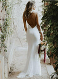 Low Cut Backless Lace Mermaid Spaghetti Straps Wedding Dress