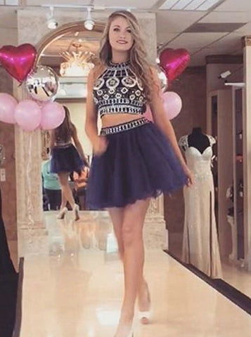 Two Piece Round Neck Short Navy Prom Dress with Beading