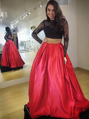 Two Piece Jewel Long Sleeves Backless Red Satin Prom Dress