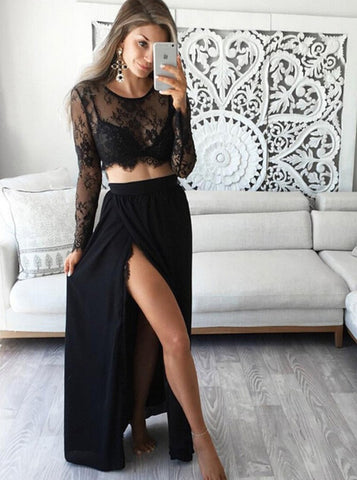 Two Piece Jewel Lace Top Long Sleeves Black Prom Dress