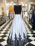 Open Back Long White Two Piece Batea Prom Dress