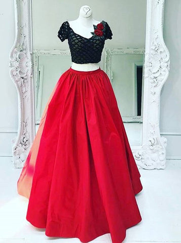 Flower Short Sleeves Two Piece V-Neck Red Taffeta Prom Dress