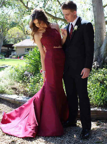 Lace Appliques Two Piece Mermaid Halter Burgundy Satin Prom Dress