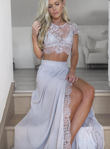 Light Gray Two Piece Chiffon Prom Dress with Lace Split