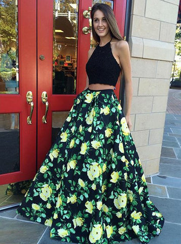Two Piece Halter Long Print Black Floral Satin Prom Dress
