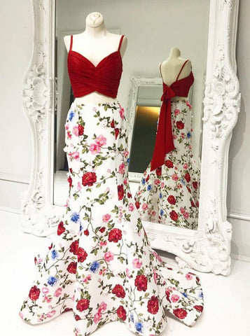 Two Piece Mermaid Spaghetti Straps Long Floral Prom Dress