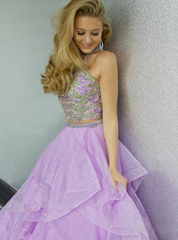 Two Piece Halter Lavender Tiered Organza Appliques Prom Dress