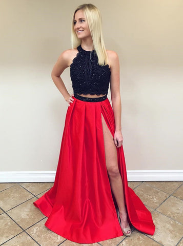 Red Split Satin Two Piece Round Neck Prom Dress with Lace
