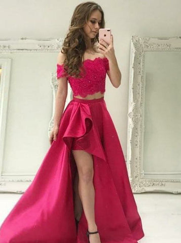 Beading Red Satin Two Piece Off-the-Shoulder High Low Prom Dress